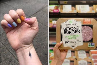 to the left: a multi-colored manicure, to the right: a package of beyond burgers