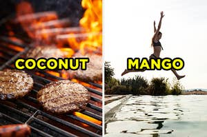 "On the left, a BBQ grill with burgers and hot dogs cooking on top and ""coconut"" typed on top of the picture, and on the right, someone leaps into a pool and ""mango"" is typed on top of the picture"