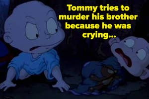Tommy looking angry at a scared Dill Pickles in The Rugrats Movie