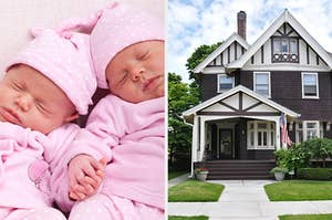 On the left, two twin babies sleep and hold hands, and on the right, a suburban house on the corner of a street with a small front porch