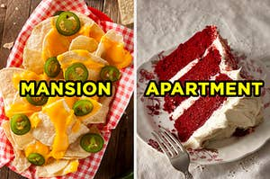 """On the left, a basket of tortilla chips topped with cheese and jalapeños and """"mansion"""" typed on top of it, and on the right, a slice of red velvet cake on a plate with """"apartment"""" typed on top of it"""