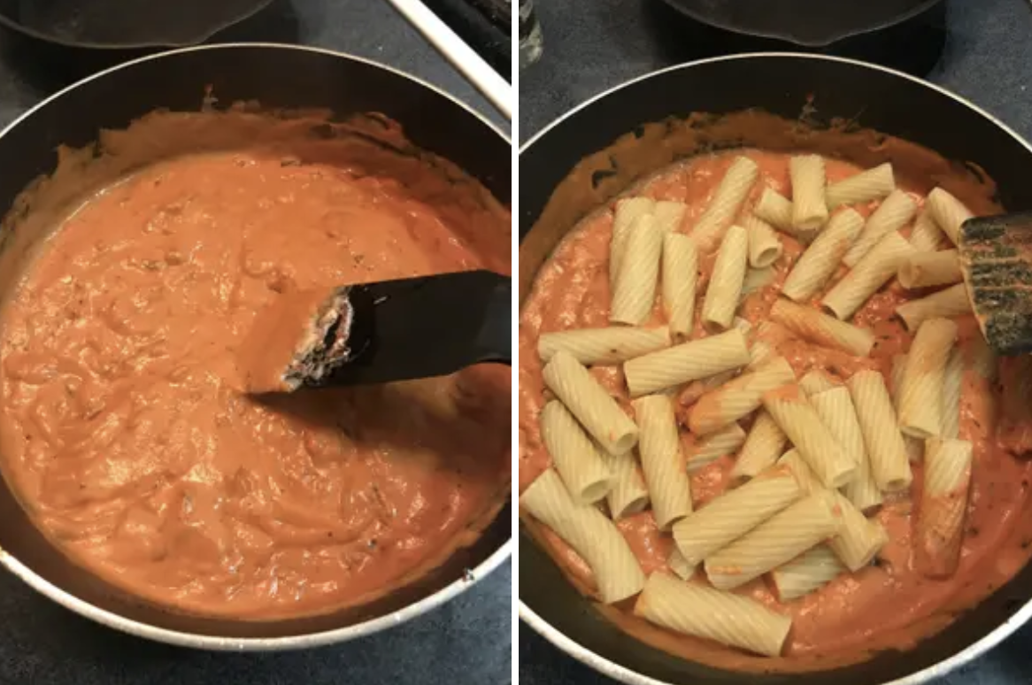 Vodka sauce with pasta cooking in a pot