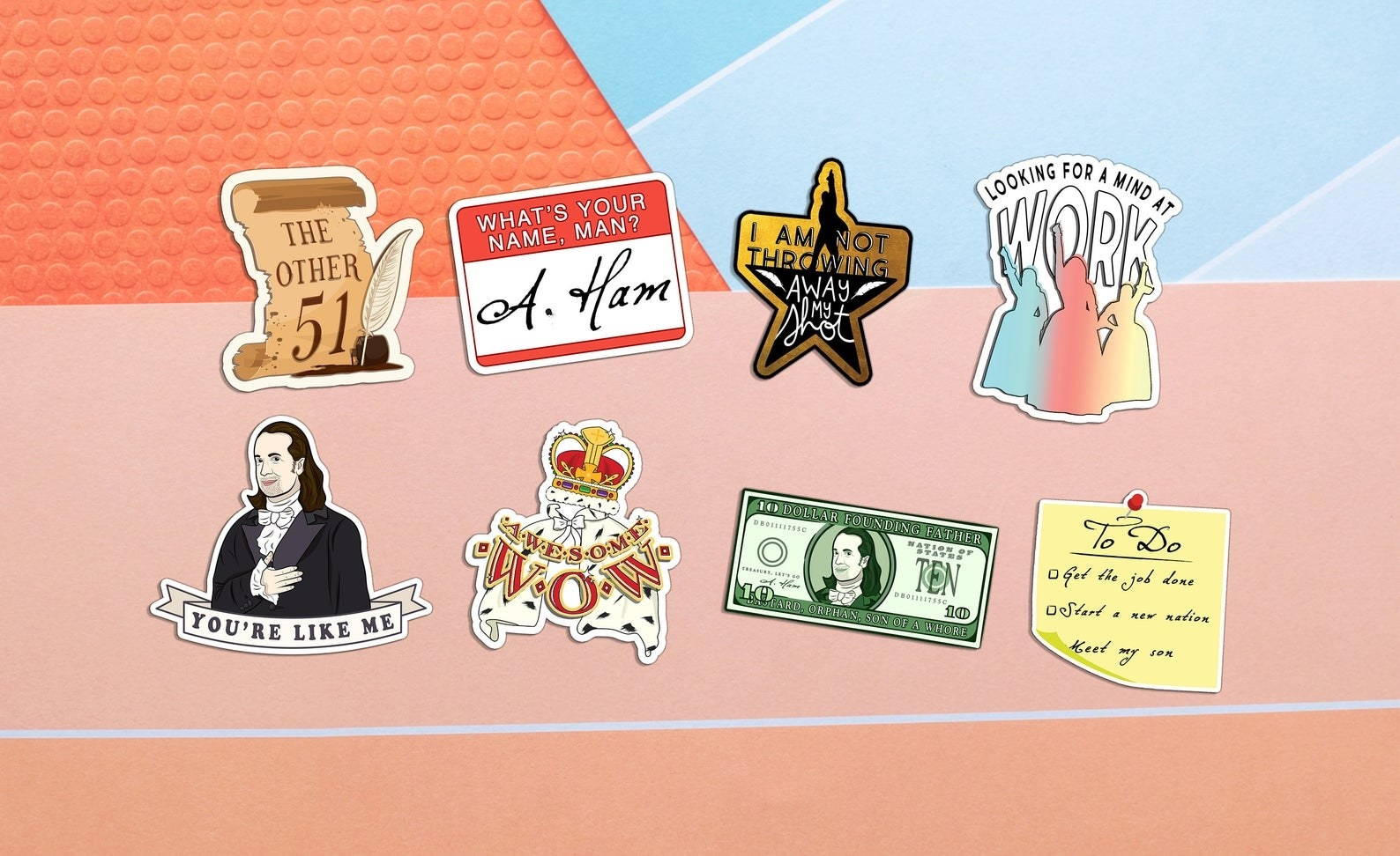 An assortment of Hamilton-themed stickers