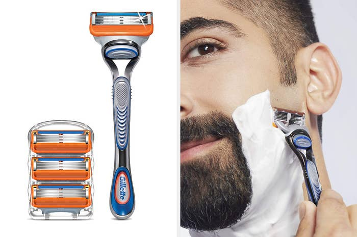 Side-by-side shot of a silver, blue, and orange razor with extra blade cartridges and a model using the razor to shave