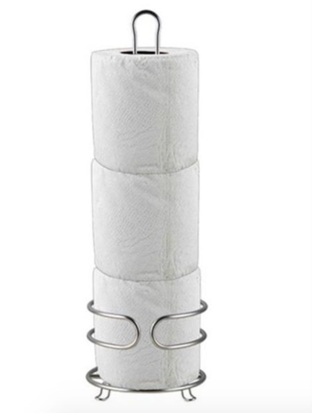 a silver rack to place toilet paper