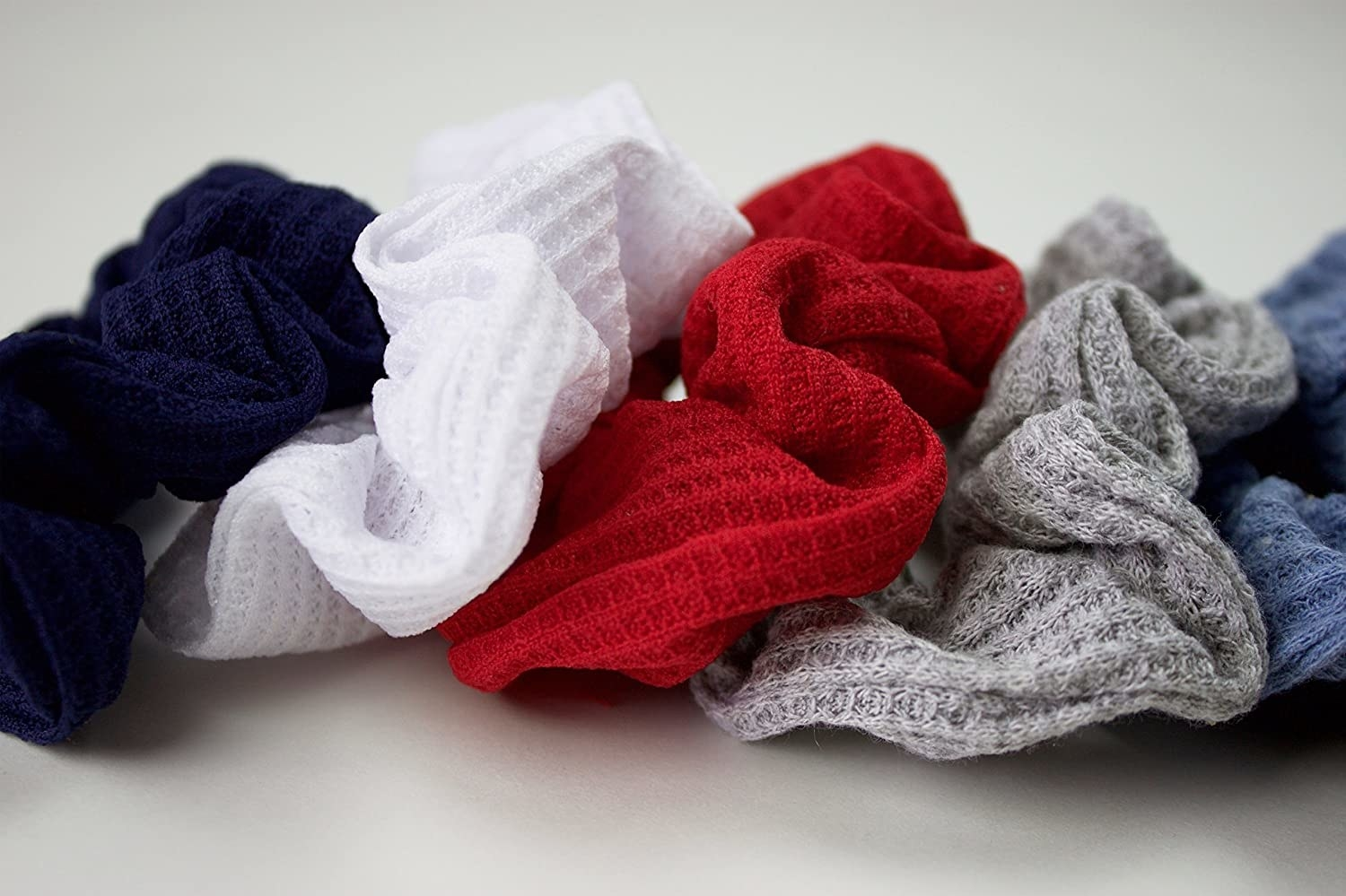 the waffle texture scrunchies in various colors