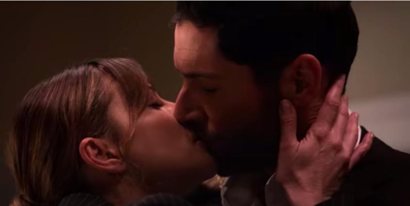 Lucifer and Chloe kissing