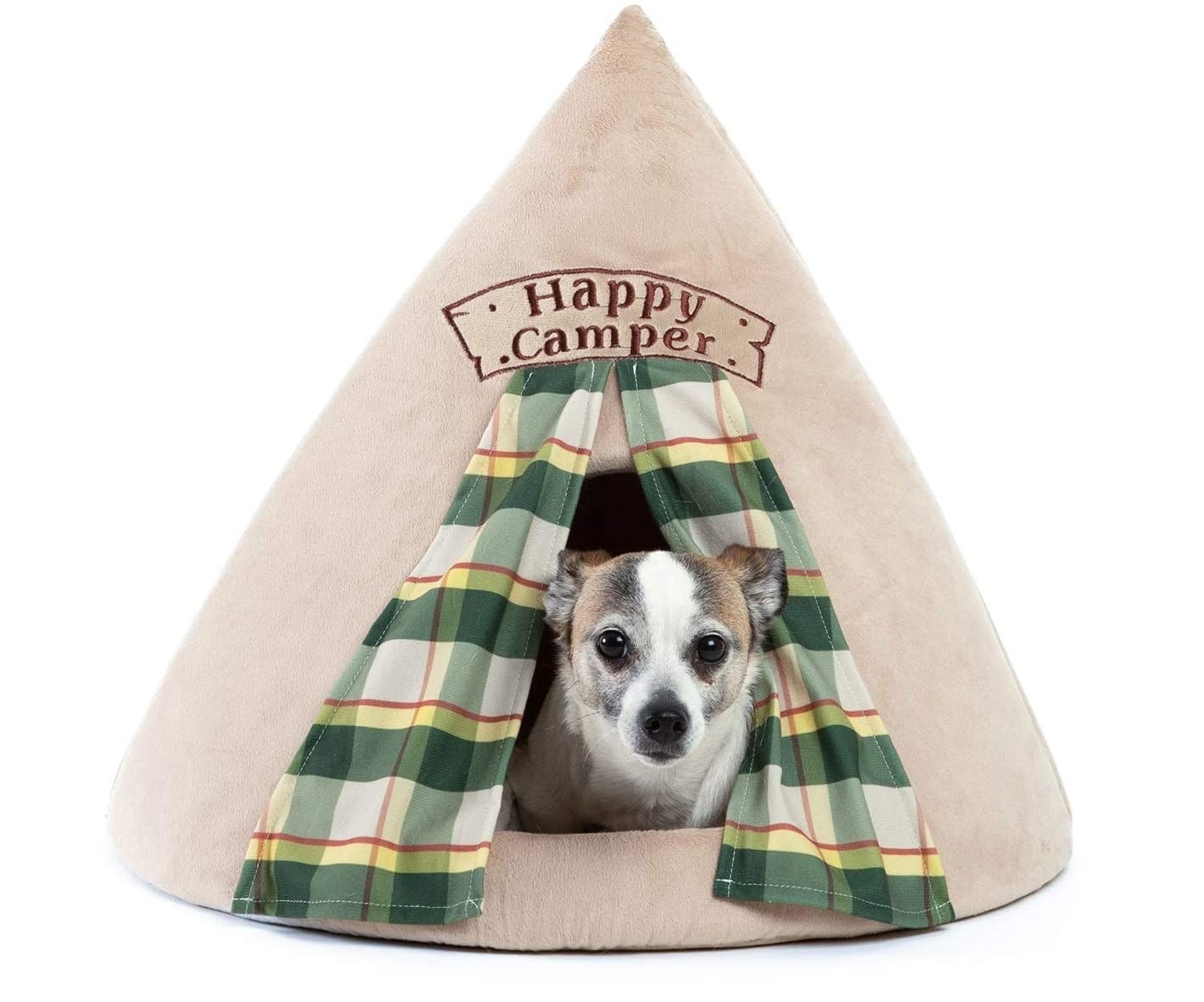 "a suede tent dog bed labeled ""happy camper"""