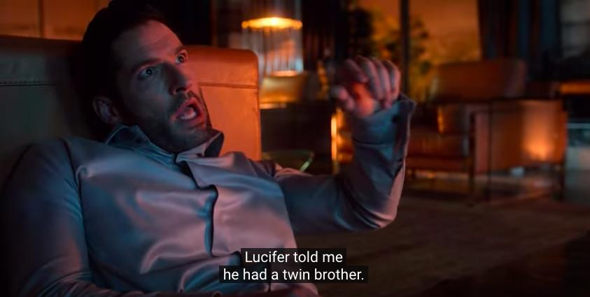 Tom Ellis as Michael explaining he's a twin