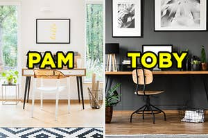 """On the left, a bright office with wooden furniture, two large windows, and """"Pam"""" typed on top of it, and on the right, a dark, modern office with planets and wire baskets and """"Toby"""" typed on top of it"""