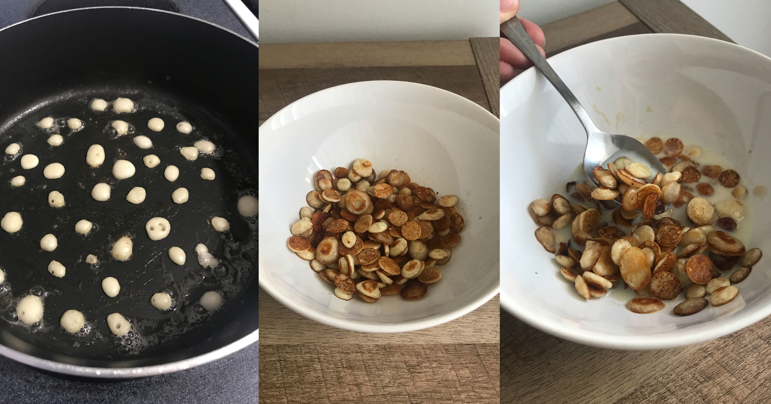 Pancake cereal the size of a dime inside a cereal bowl