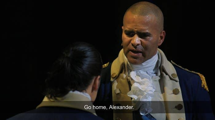 """Christopher Jackson as George Washington saying """"Go home, Alexander"""""""
