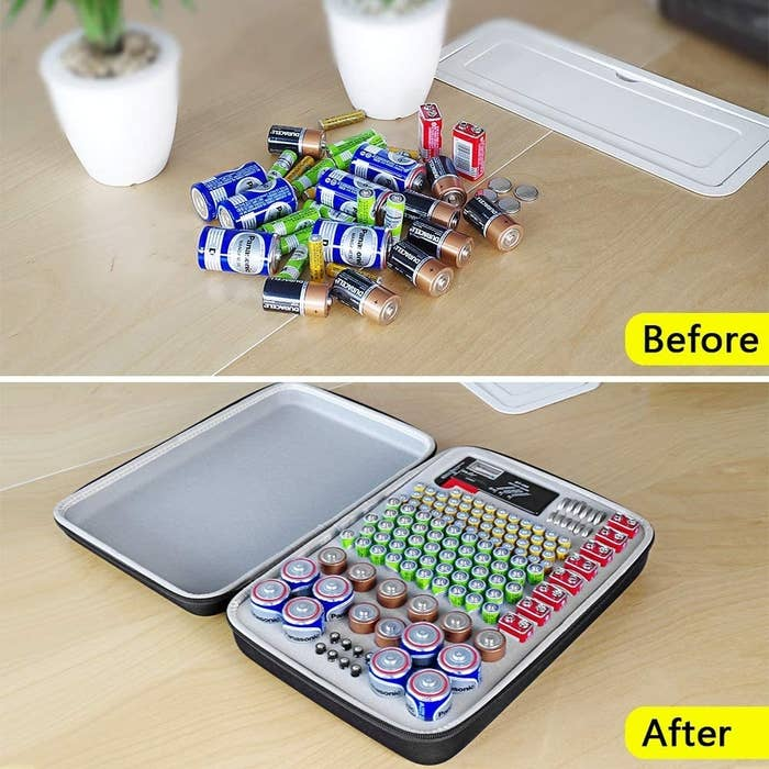 A before and after comparison of batteries on a table and batteries in the case