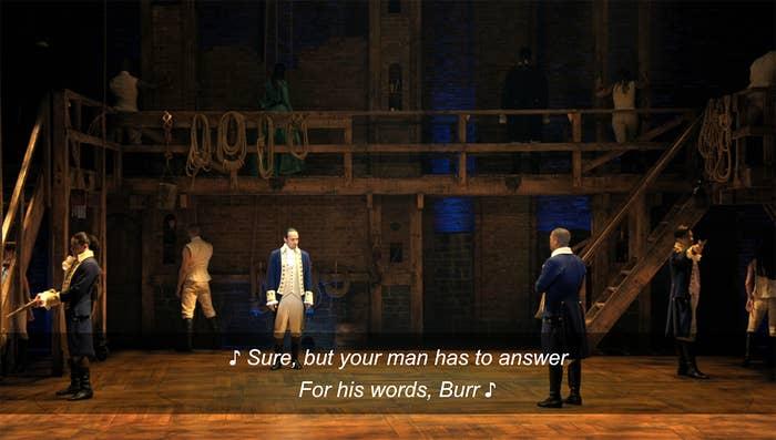 "Lin-Manuel Miranda as Alexander Hamilton and Leslie Odom Jr. as Aaron Burr in ""Hamilton"" acting as seconds in a duel"