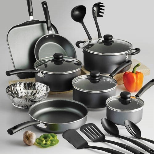 The gray cookware set with four five pots, four lids, two sauce pans, and six utensils