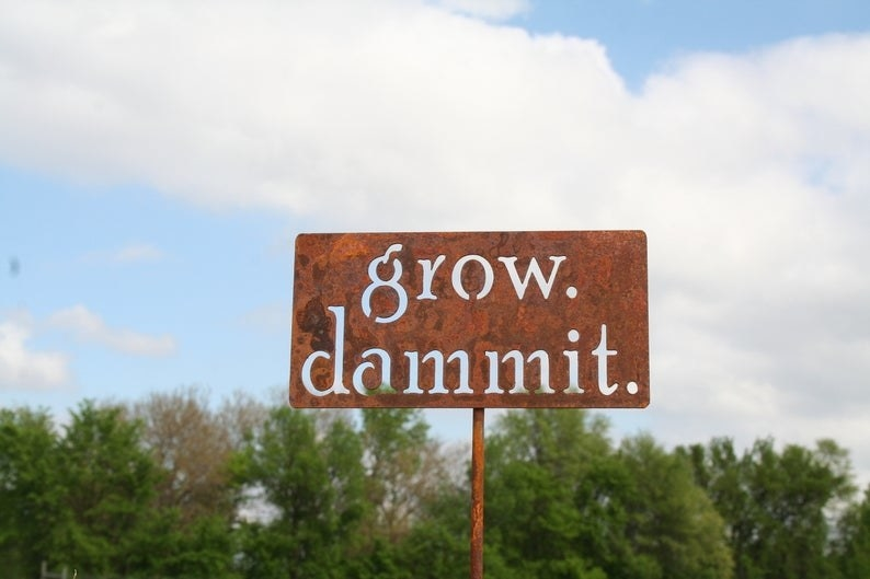 "A rusty sign with cutout letters that say ""grow dammit."""