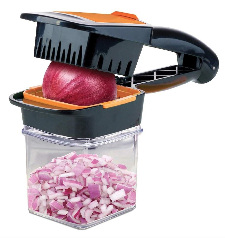 the chopper chopping an onion