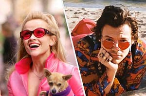 Elle Woods next to Harry styles, both in pink glasses