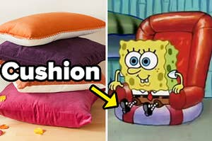 Colored pillows stacked beside SpongeBob sitting on a cushion