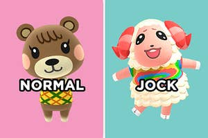 "On the left, Maple the bear cub from Animal Crossing with ""normal"" typed under her face, and on the right, Dom the sheep from Animal Crossing with ""jock"" typed under his face"