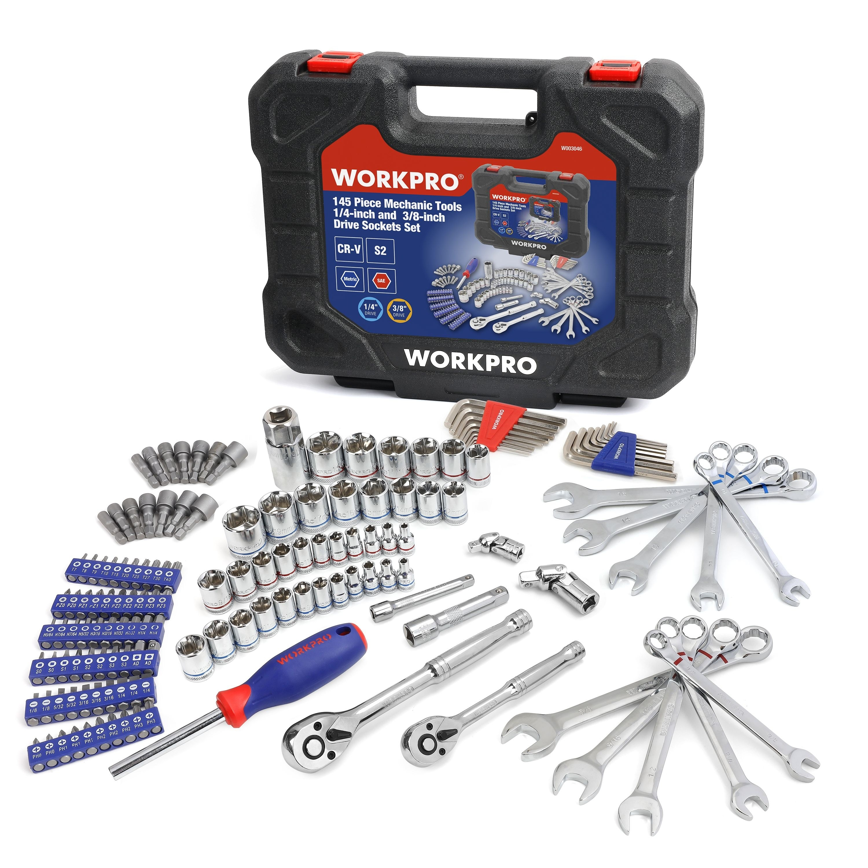 The tool set with 145 pieces laid out, including tools, parts, and sockets