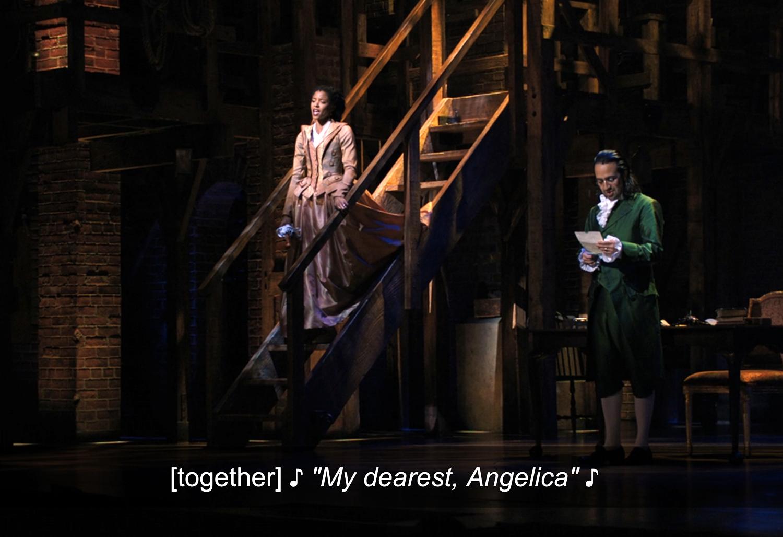 "Miranda as Hamilton and Renée Elise Goldsberry as Angelica singing ""My dearest, Angelica"""
