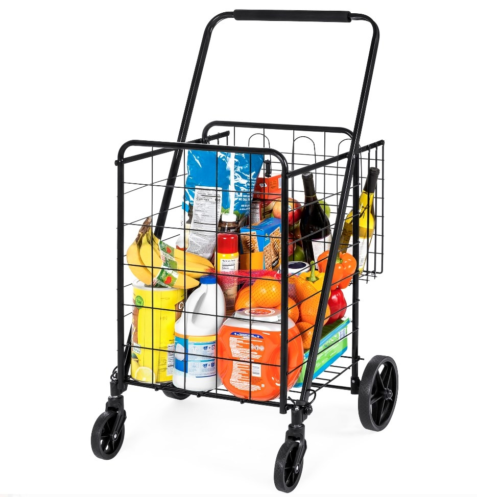 a cart on wheels with a black cage to store items