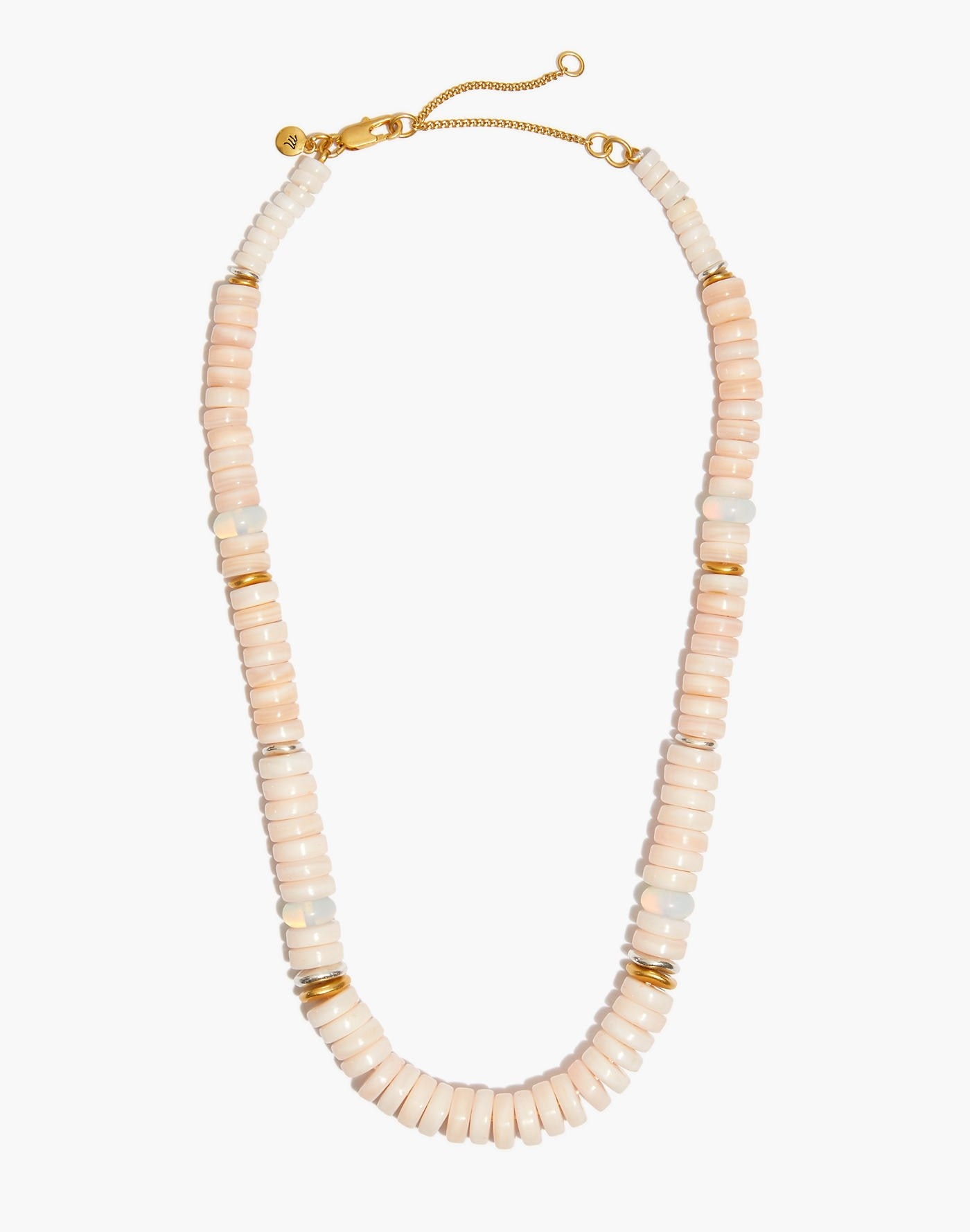 The beaded necklace with a selection of light pink and gold beads