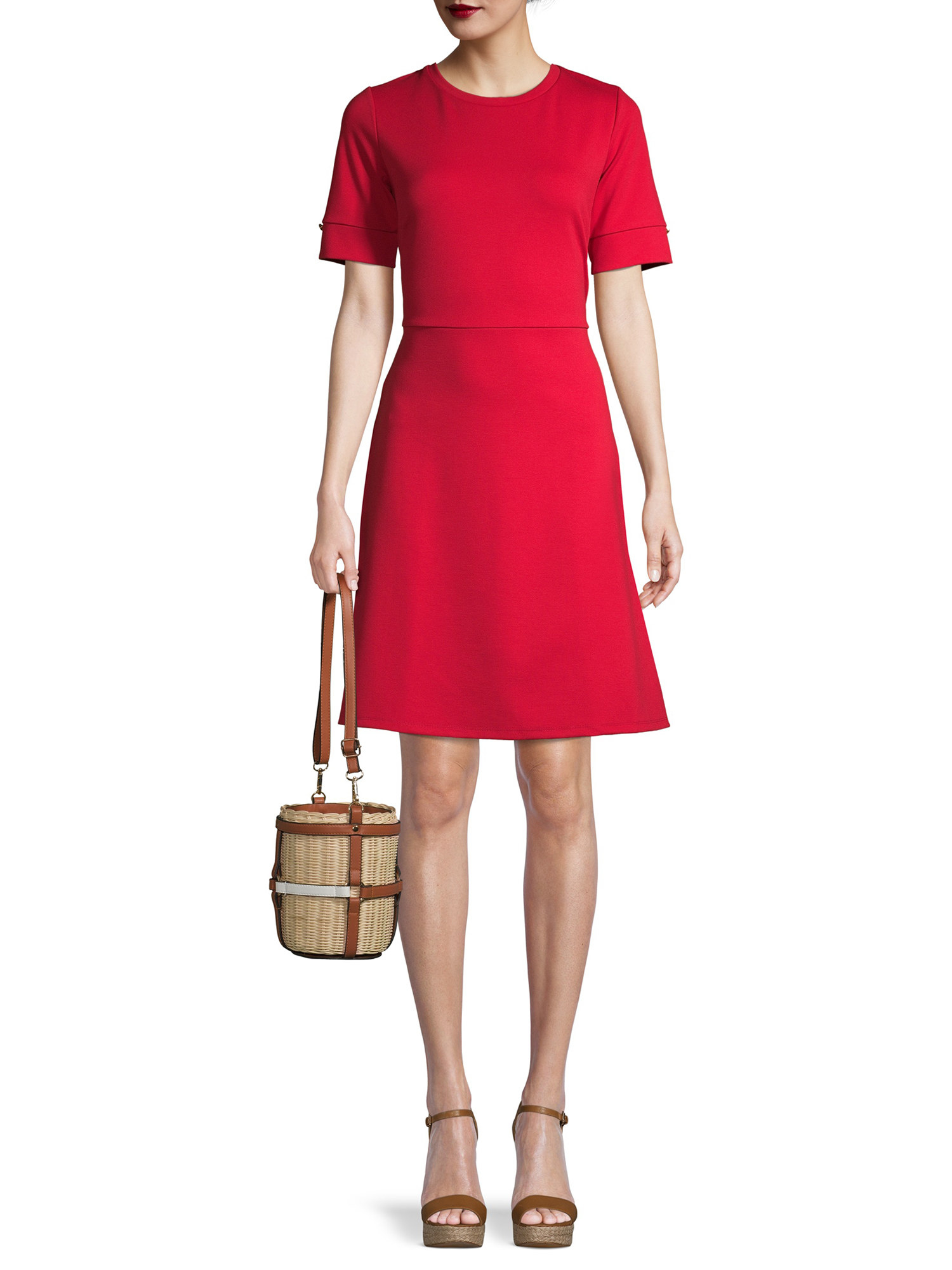 A red sleeved dress that falls above the knee