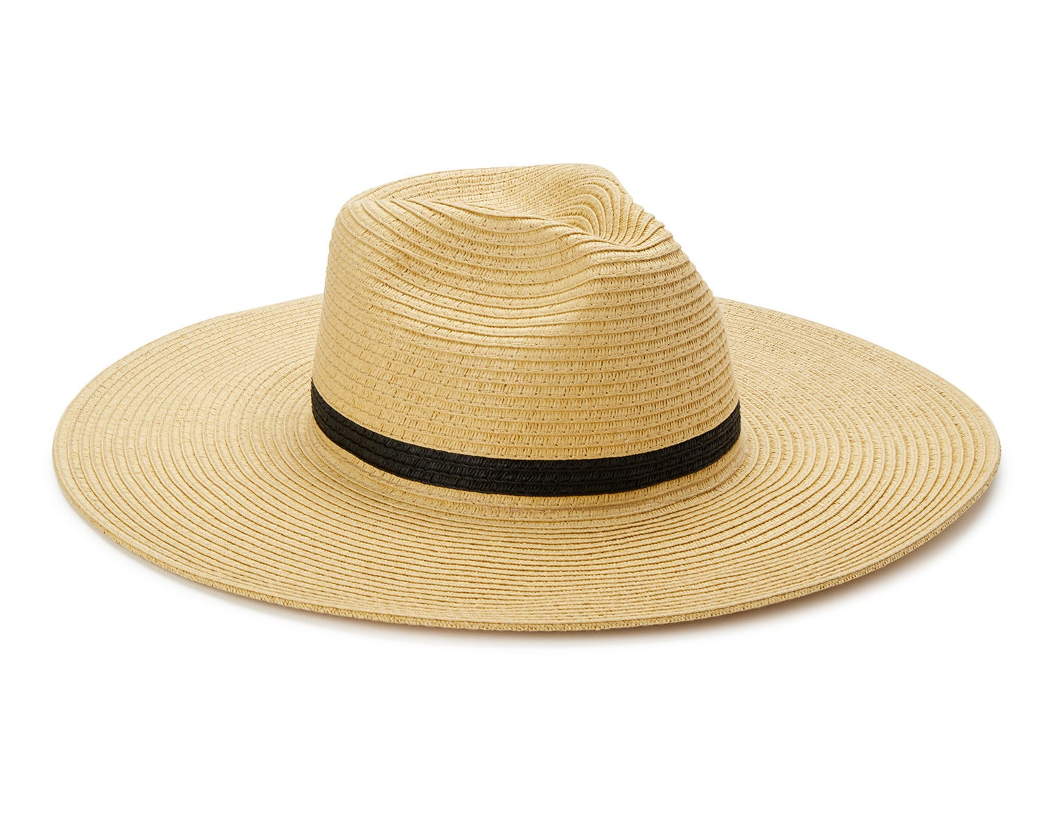 A straw hat with a black ribbon