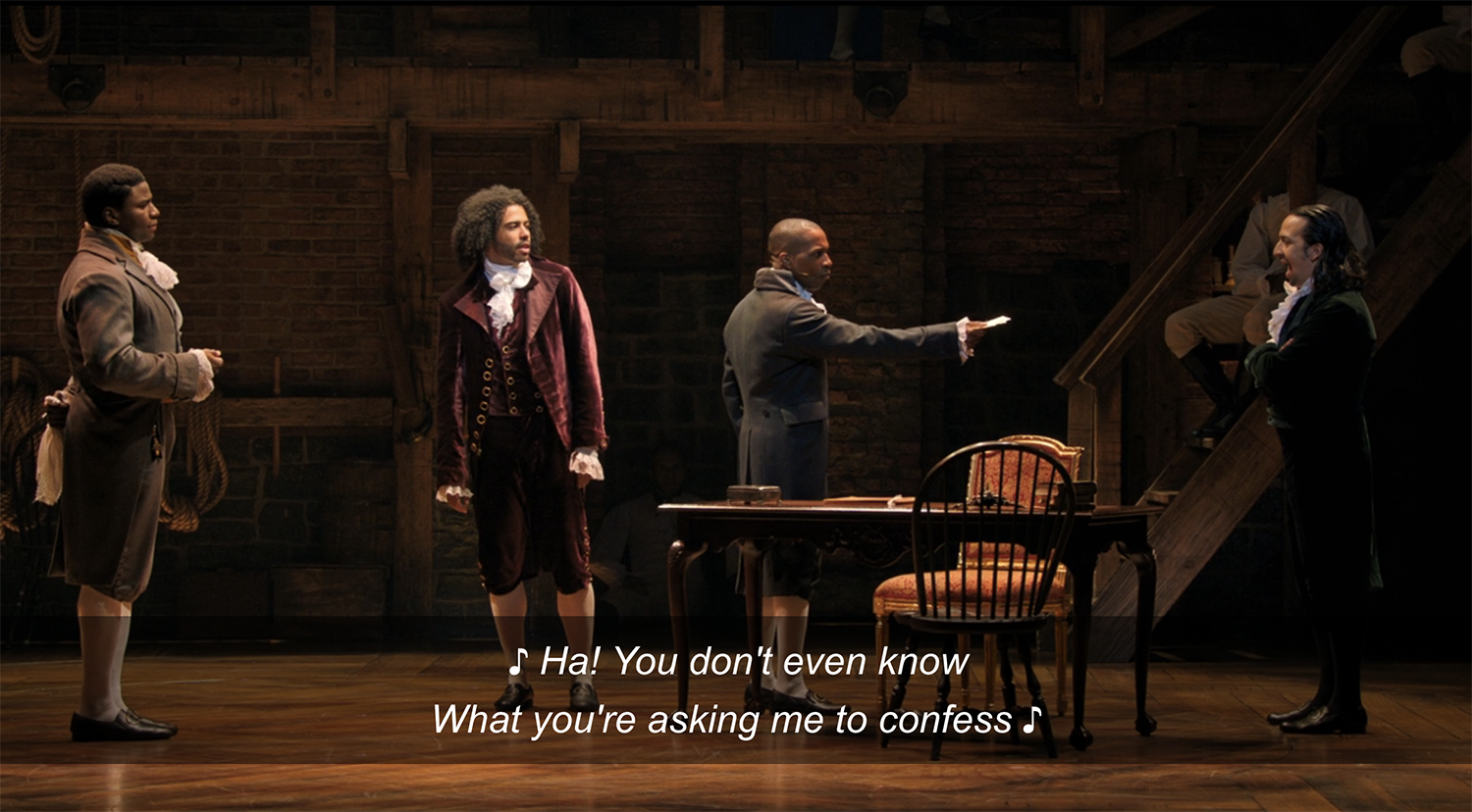 """The staging of """"The Reynolds Pamphlet"""" in """"Hamilton"""""""
