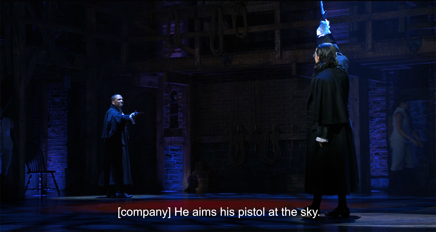Odom Jr. and Miranda as Burr and Hamilton during their duel
