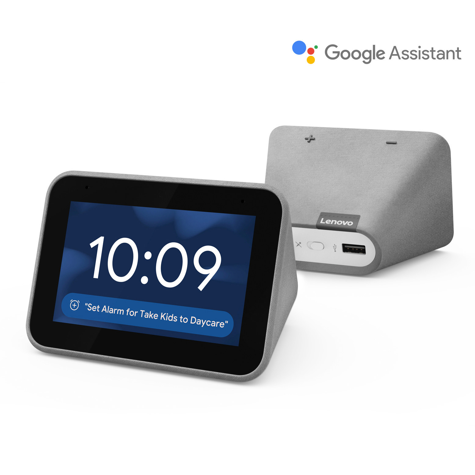 The gray smart clock with a digital display
