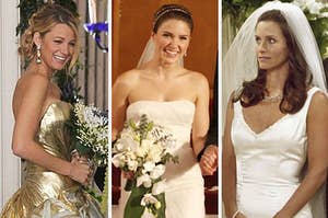 Various TV characters in their wedding dresses