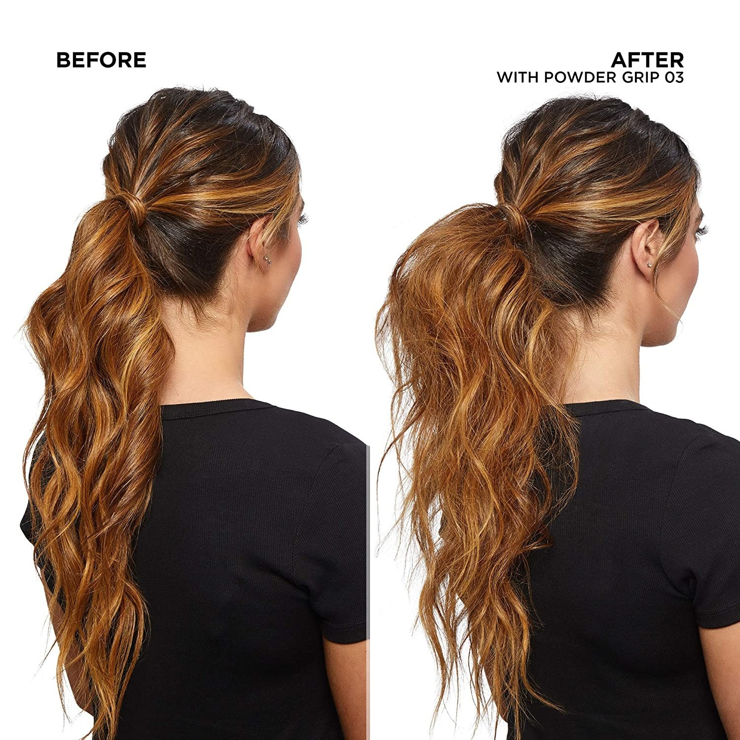 A model before, with soft-textured styled curls, and after, where they curls are separated and have significantly more volume