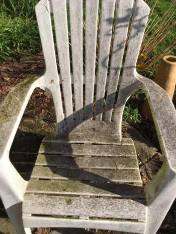 Reviewer's mold-covered white patio chair before using the stain remover spray