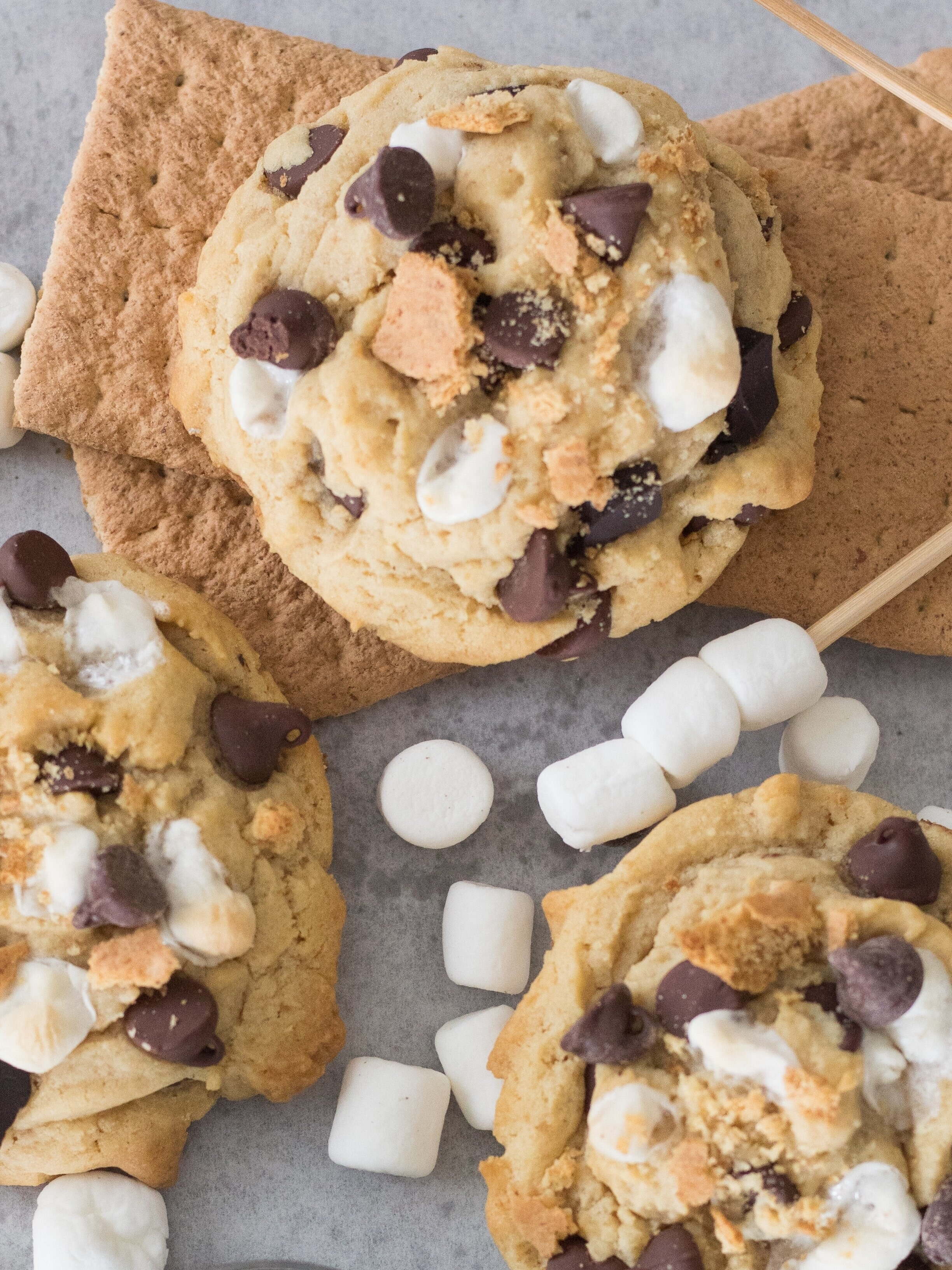 the cookies, with marshmallows strewn everywhere