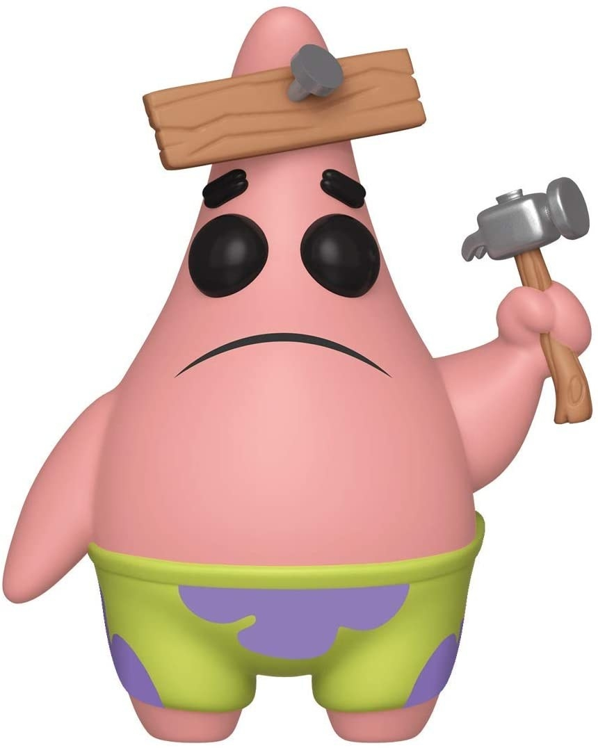 "The figure of Patrick from ""SpongeBob"" with a board nailed to his head, holding a hammer"
