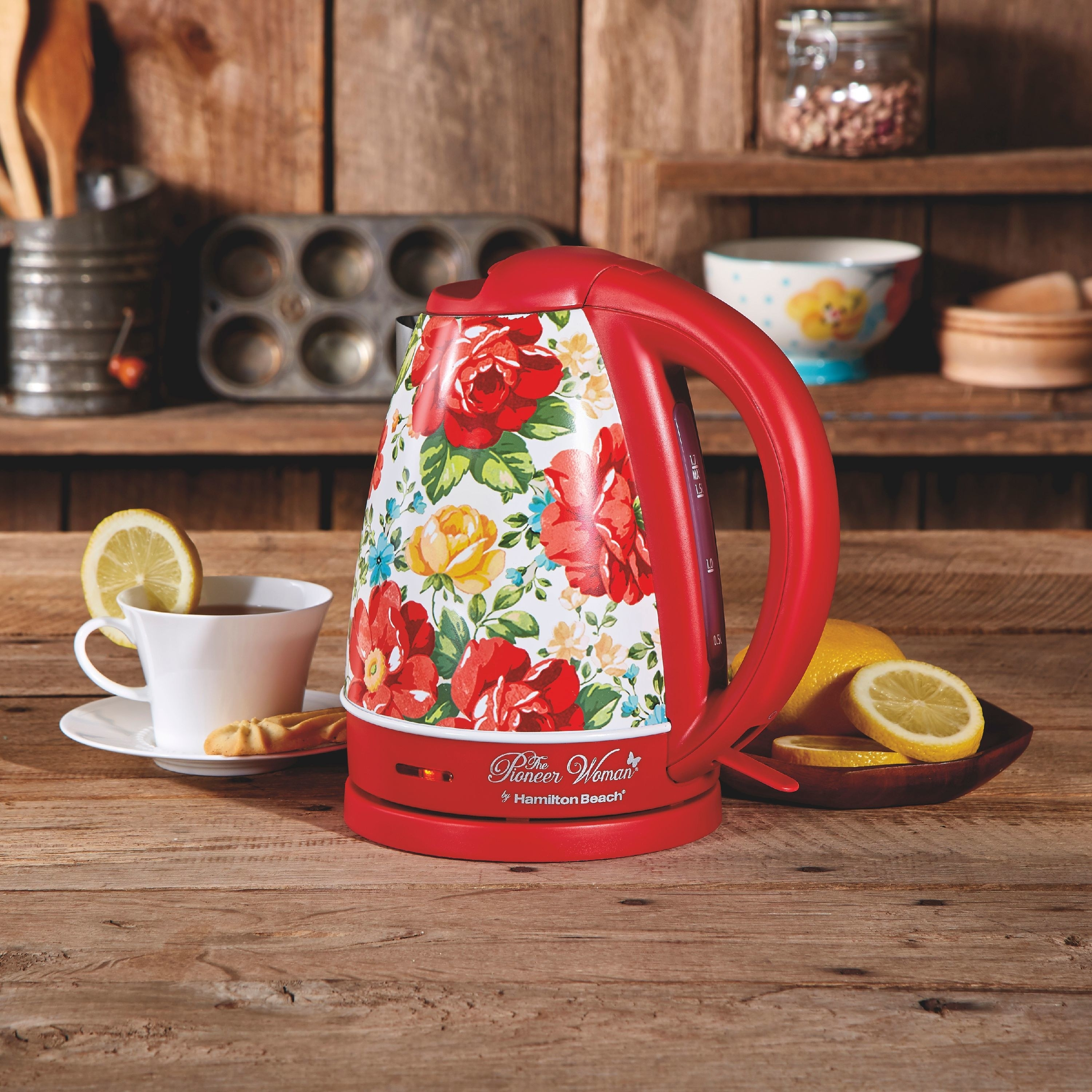 A red floral Pioneer Woman kettle
