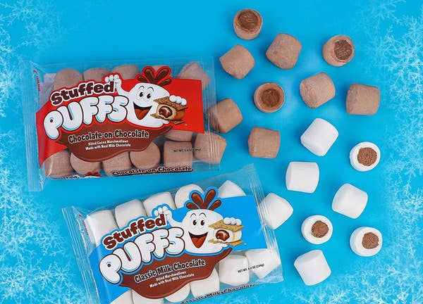 two bags of the marshmallows with marshmallows visible so you can see the chocolate inside