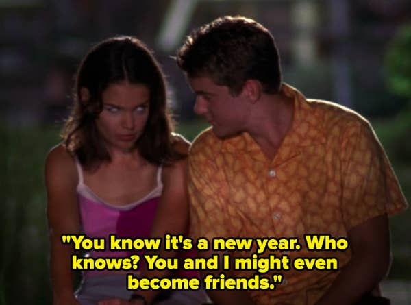 """Pacey says to Joey, """"You know it's a new year. Who knows? You and I might even become friends."""""""