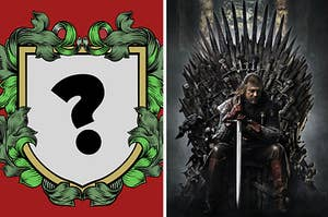 On the left is a crest with a question mark for the house you create and on the right is Ned Stark sitting on the iron throne