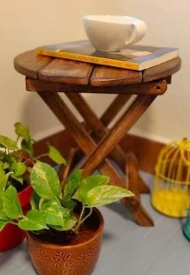 The wooden table with a book and a mug on it. There are a few plants around it.