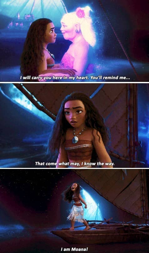 "Moana speaking with the spirit of her grandmother in Disney's ""Moana"""