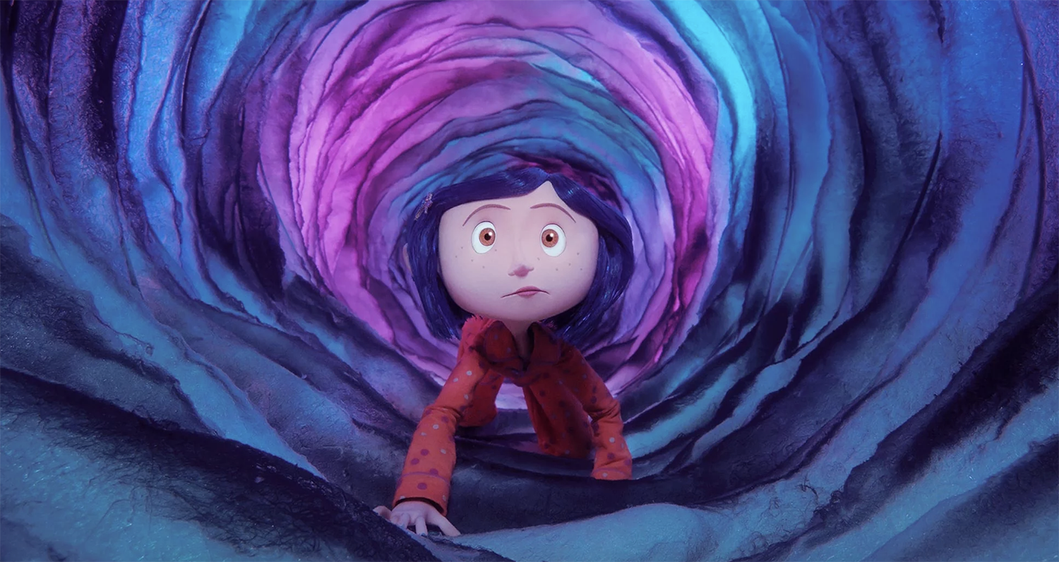 "Coraline crawling through the tunnel in ""Coraline"""