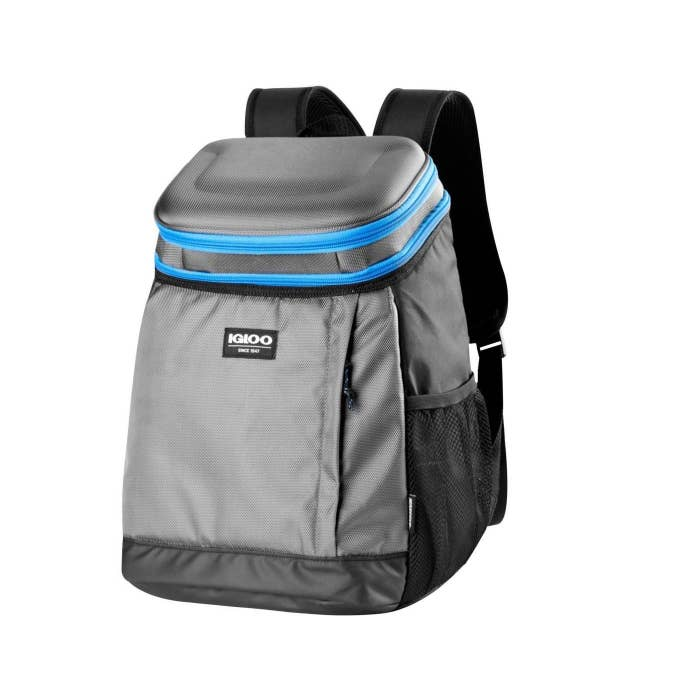 A light gray backpack with black and light blue accents