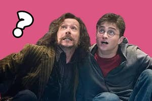 A photo of Sirius Black and Harry Potter with the background removed