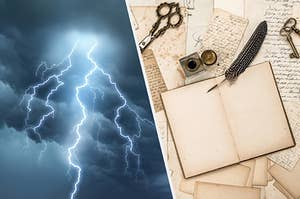 On the left a darkened sky during a thunderstorm and on the left an old notebook open with a quill and ink nearby and handwritten notes