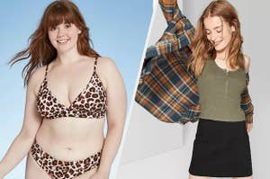 to the left: a model in a leopard print bathing suit, to the right: a model in a black mini skirt