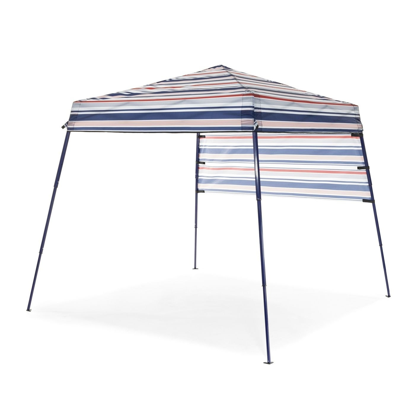 A red, white, and blue multi-colored gazebo on four thin black legs